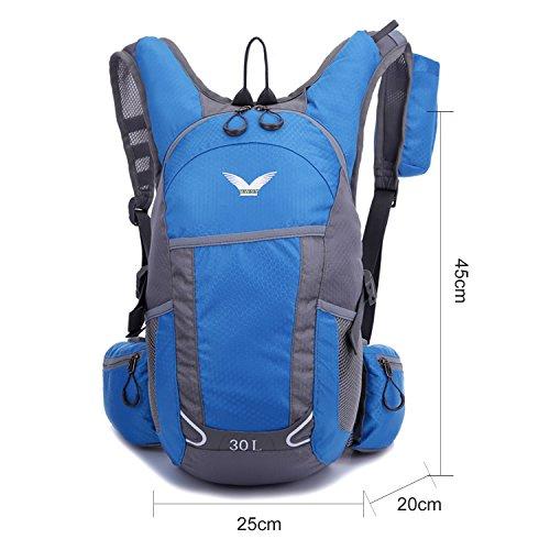 BYD - Geringes Gewicht 30L Unisex Rucksäcke Im Freien Wandern Klettern Freizeit Trekkingrucksäcke Outdoor Taschen Radfahren Reiten Reisetaschen wasserdicht Backpack Blau