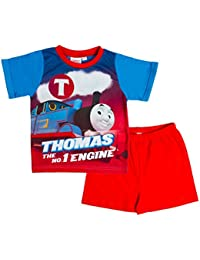 New Kids Boys Official Thomas The Tank Engine Trains Short Sleeved Pyjamas Shorts Pjs Set Navy Blue Red Childrens Size 1-5 Years