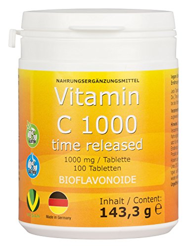 Vitamin C 1000mg + Bioflavonoide TIME RELEASED 100 Tabletten Made in Germany Vegan