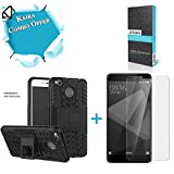 Kaira Hard Armor Hybrid Rubber Bumper Flip Stand Rugged Back Case Cover (Black) + Tempered Glass For Xiaomi Redmi 4 (may 2017 edition)