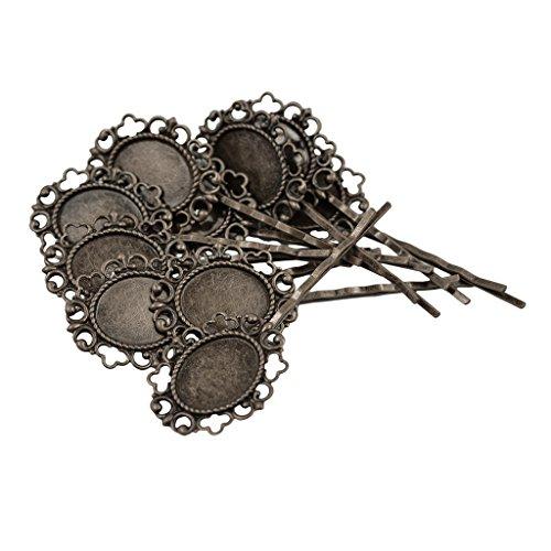 Gazechimp Cabochon rohlinge Haarspange,Haarklemme Rohlinge Fassungen, Blumen Form, Schmuck Basteln, 10pcs Of Set (Cabochons Blumen)