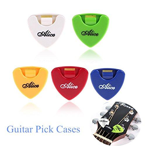 Readycor (TM) Alice Plactic vendere 5, motivo a triangoli adesivi a forma di plettro per chitarra, con porta plettro/contenitore