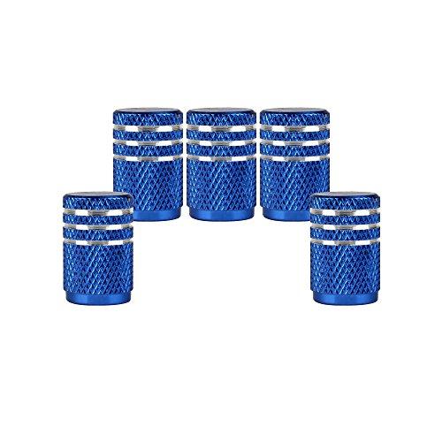 SENZEAL 5pezzi Bordo superiore argento tappi valvola Coprivalvola pneumatici per macchina blu