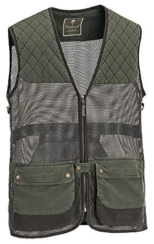 Pinewood Men's Canvas Shooting Vest, Men, Pinewood Canvas Schiessweste, grün/dunkelbraun, XL