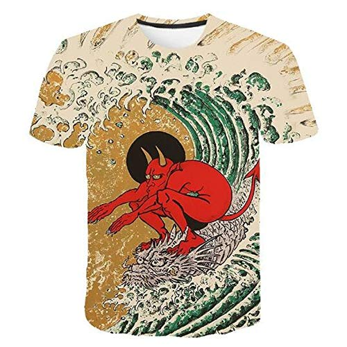 Herren Neuheit T-Shirt 2019 Sommer Casual Kurzarm 3D Digital Gedruckt T Shirt Tops Premium,Halloween-Druck - EIN gelbes XL