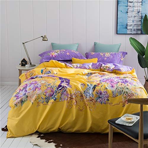 XULIM Bettwäschesatz von Vier Baumwolle gedruckt Klassische Bettwäsche Set Seide Bettbezug Bett ausgestattet Kissenbezüge King Size 4Pcs, groß, 200 * 230cm (Ausgestattet Seide Blatt King)
