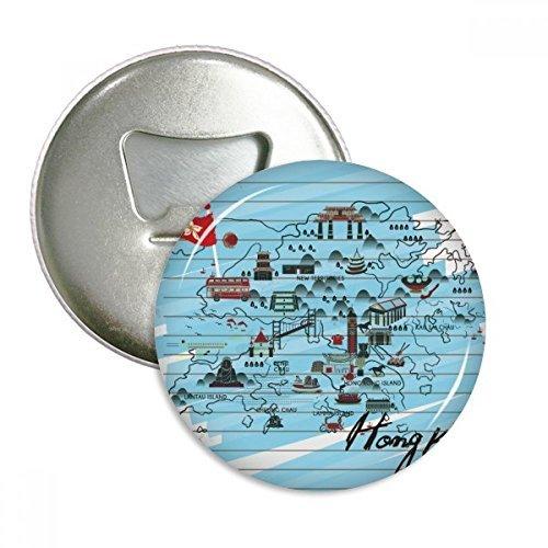 Flaschenöffner/Kühlschrankmagnet Hongkong, rund, 3 Stück -