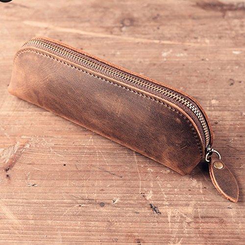 Saibang, astuccio vintage in pelle con cerniera, realizzato a mano, in vera pelle, per cancelleria artistica, per scuola o ufficio, portamatite unisex