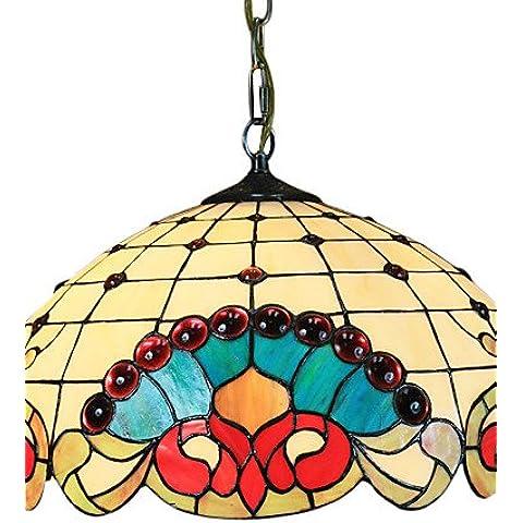 EIK POCATELLO - Lampadario stile motivo floreale con 2 lampadine , 220-240v
