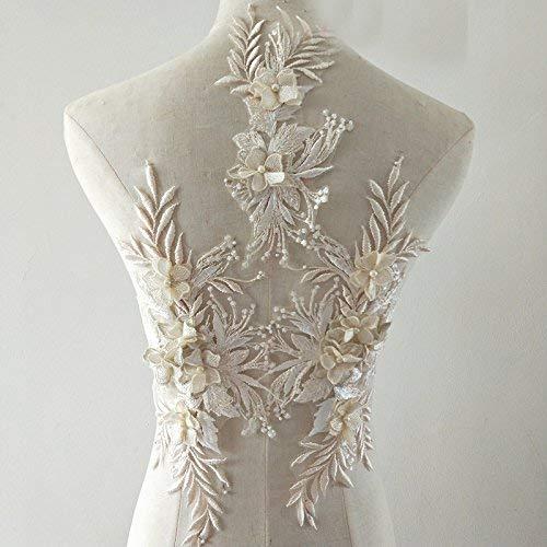 bridallaceuk 3D-Spitzenapplikation, Blumen-Aufnäher, ideal zum Basteln, Nähen, Kostüm, Abenden, Brautoberteil 3 in 1 A5 champagnerfarben
