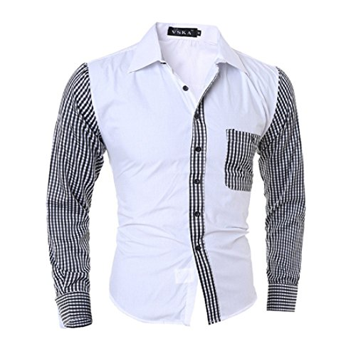 Men's Long Sleeve Slim Fit Casual Jeans Shirts white