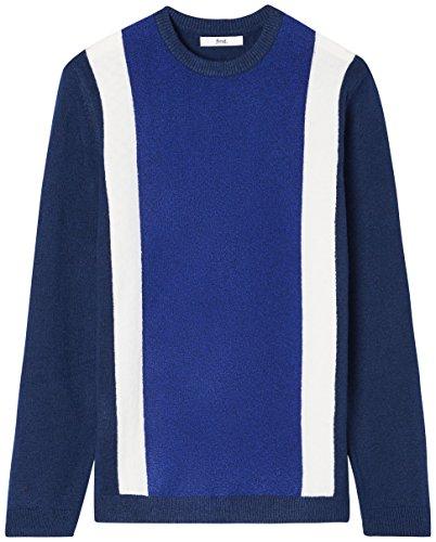 FIND Pullover Herren gerippt mit Colour-Blocking Mehrfarbig (Navy/Ecru/Cobalt)