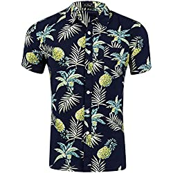 Loveternal Funky Camisa Casual Botón Abajo Camisa Hawaiana Camisas Verano Hombre Algodón de Manga Corta 3D Camisa Piña Negro XL