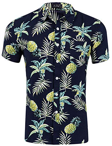 Loveternal Herren Sommer Kleidung Hippie Casual Ananas Hawaiihemd Herren Slim Fit Grillparty Kurzarm 3D Shirts Schwarz L (Männer Sommer-kleidung Für)