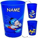 Unbekannt 4 Stück _ 3 in 1 - Trinkbecher / Zahnputzbecher / Malbecher - Becher -  Disney - Mickey Mouse - Donald Duck & Pluto - BLAU  - inkl. Name - 250 ml - Trinkgla..