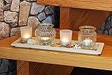 KAMACA LED Teelichthalter Set auf Holz Tablett mit 4 Glas Windlichtern und Dekoration inklusive 4 LED Teelichter (40 x 14 x 14 cm)