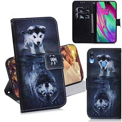 DodoBuy Samsung Galaxy A40 Hülle Flip PU Leder Schutzhülle Handy Tasche Case Cover Wallet Standfunktion mit Kartenfächer Magnetverschluss für Samsung Galaxy A40 - H& Wolf