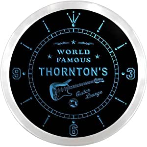 ncpf1354-b THORNTON'S Famous Guitar Lounge Beer Pub LED Neon Sign Wall Clock