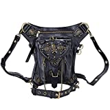 Cestlafit Damen Herren Leder Steampunk Tasche Vintage Schulter Steampunk Handtasche Gothic Taille Packs Bein Tasche, Schädel & Nieten, CFB005-2