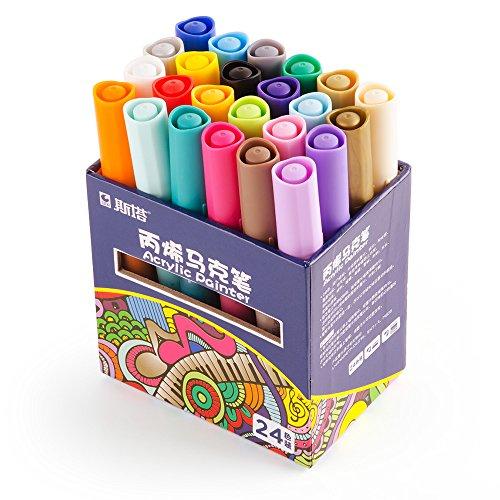 STA Acrylfarbe Marker Pens 24 Farben Acrylfarbe Stift Kunst Permanent Marker für DIY Glas, Keramik, Rock, Holz, Leinwand, Metall, Stoff, ungiftig Acryl Pens-Best Geschenk für Anfänger, Hobbyisten und Professioneller Künstler (Drucken Leinwand Stoff)