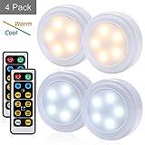 Qimaoo Licht mit Bewegungsmelder, 4er Pack Lichter, Kleiderschrank Lichter, kaltes Weiß und warmes Weiß, Kind Nachtlicht, LED Nachtlicht mit Fernbedienung Batterien, Kleiderschrank Lampen (50-60 LM, 0,5 W) Perfekt für das Badezimmer , Wandschrank, Küche, Treppen, Wand, etc. [Energieeffizienzklasse A +]