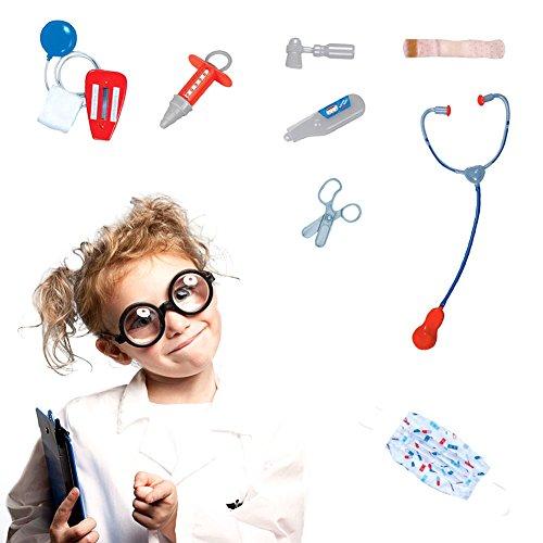 Comaie Kinder Doctor Rollenspiel-Kostüm, Ärzte, Labor, Mantel mit Gesichtsmaske, Stethoskop, Thermometer, Reflexhammer, Blutdruck-Utensilien, sichere Schere, Spritze, - Goblin Spiderman Kostüm