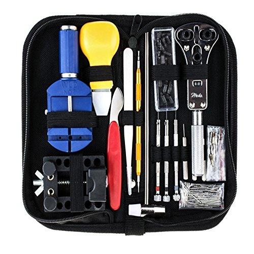 Bermud 147tlg Uhrmacherwerkzeug Set Uhr Werkzeug Tasche Reparatur Watch Hochwertige Reparatur Tools mit Nylontasche Schwarz