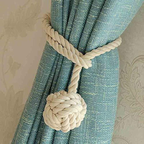 Do4u coppia di nappe fermatenda in corda, fatte a mano e con un'unica pallina, per tenere legate le tende beige