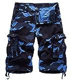 Panegy Cargo Shorts Herren Sommer Kurze Hose Outdoor Loose-Fit Arbeitshosen Männer vielen Taschen Bermuda Shorts Vintage Freizeithose