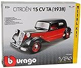 Bburago Citroen 15CV TA 1938 Rot Braun Schwarz Bausatz Kit 1/24 Modell Auto mit individiuellem Wunschkennzeichen
