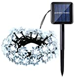 lederTEK Solar Powered Flower Fairy String Lights 19.7ft 30 LED Waterproof Lotus Blossom Christmas Decorative Lamp for Outdoor, Garden, Home, Wedding, Xmas New Year Party (30 LED White)