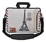 MySleeveDesign Sacoche en néoprène pour ordinateur portable avec bandoulière 15,6 pouces / 17,3 pouces - PLUSIEURS MODELES - Paris Stamp [15]