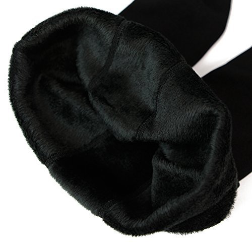 CHIC-CHIC Legging Pantalon Collant Velours Fleece Thermique Hiver Chaud Elastique (Noir)