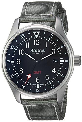 Alpina Men's 'Startimer' Swiss Quartz Stainless Steel and Nylon Casual Watch, Color Grey (Model: AL-247B4S6)