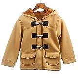 TTLOVE Kinder Baby Jungen Knopf ReißVerschluss Mäntel Jacke Warme Winter Kapuze Kind Outwear Winterjacke Kapuzenjacke Kleidung(Khaki,100 cm)