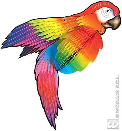 Wabendeko Papagei Party-Deko bunt 76cm (Farbenfrohe Ideen Kostüme)