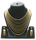 Eshopitude Indian Festival Design 13 String CZ American Diamond Gold Plated Necklace set for women & Girls