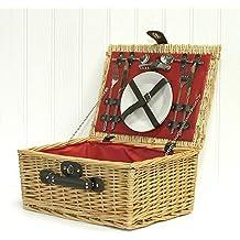 Luxury 2 Person Red Lined cesta de cesto de mimbre picnic con accesorios - Ideas de regalos para cumpleaños, bodas, aniversarios y empresas