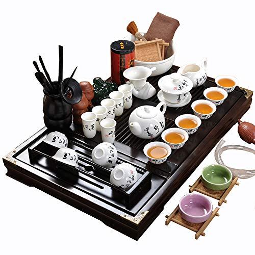 ufengke-ts Keramik Kung Fu Tee Set Mit Hölzernem Tee Tablett, Schwarzem Sanskrit-Muster Weinlese Chinesisches Teeservice, Für Geschenk und Haushalt, Büro (Eine Chinesische Tee-geschenk-set)