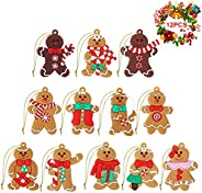 ASTER Gingerbread Man Ornaments Set of 12, 3 Inch Gingerbread Man Doll Hanging Charms for Christmas Tree Penda