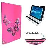 Case Cover für Samsung Galaxy Tab S3 T825 LTE Tablet Schutzhülle Etui mit Touch Pen & Standfunktion - 10.1 Zoll Schmetterling Pink 360˚