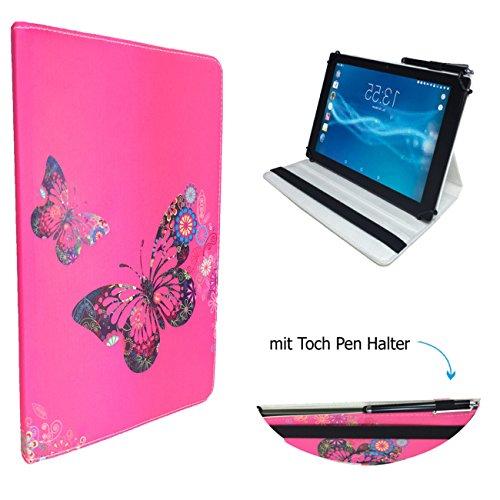 Case Cover für Archos 101 Platinum 3G Tablet Schutzhülle Etui mit Touch Pen & Standfunktion - 10.1 Zoll Schmetterling Pink 360°