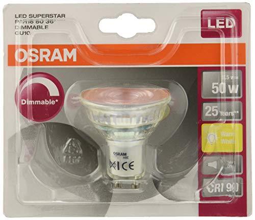 OSRAM LED SUPERSTAR PAR16 / Spot LED, Culot GU10, Dimmable, 5,5 W Equivalent 50W, 230 V, Angle : 36°, Blanc Chaud 2700K, Lot de 10 pièces