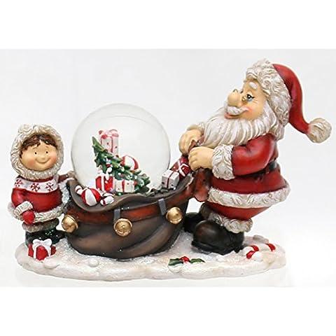 Bellissima scena con Babbo Natale, Bambino e palla di vetro con neve, circa 15 x 6,5 x 10 cm/ Ø 4,5 cm
