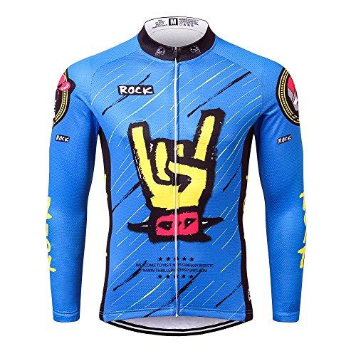 Thriller Rider Sports® Mens Rock Music Blue Outdoor Sports MTB Long Sleeve  Cycling Jersey 4X-Large 8a0e92953