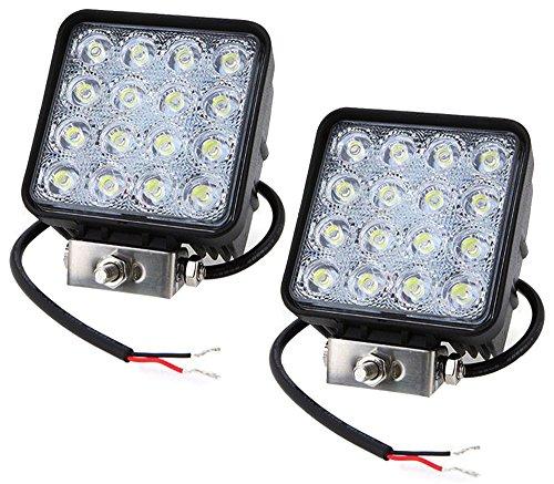 Leetop 2x48W 16 LEDs Flutlicht LED Arbeitsscheinwerfer Außenstrahler Offroad Lampe Zusatzscheinwerfer für Jeep SUV 12-24V Schwarz Aluminium Druckguss IP67