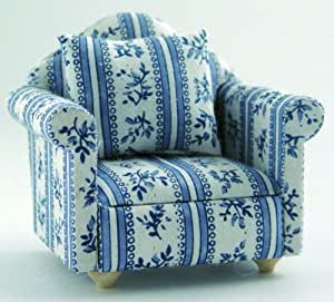 DOLLS HOUSE BLUE PATTERNED CHAIR 1/12TH ARMCHAIR