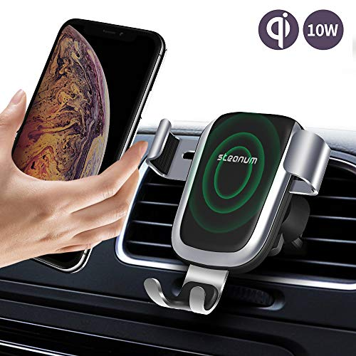 Caricatore Wireless Auto,Steanum Ricarica Rapida Wireless Auto Vento Supporto Telefono Compatibili per iPhone Xs Max/Xs/Xr/X/8/8Plus, Note 5, Galaxy S9/S8//S7/S6 Edge+.