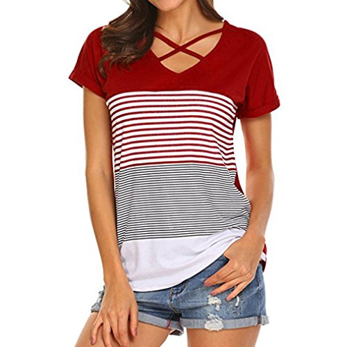 Abbigliamento donna, ashop donna estivo abbigliamento, camicetta delle camicette delle maglie della maglietta del bicchierino del manicotto delle giunture della banda delle donne (xxl, rosso)
