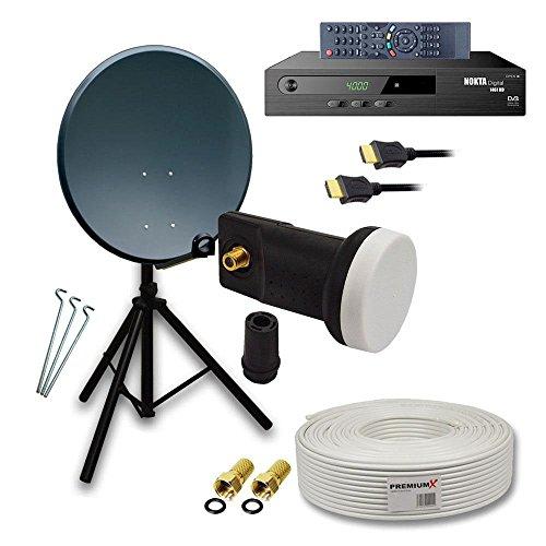 PremiumX komplett HD Sat Anlage Set 80cm Stahl Anthrazit Schüssel Spiegel Antenne Digital mit SkyRevolt Single LNB 4K + Dreibein Stativ Alu 3x Stahl-Heringe + 10m Koax TV-Kabel mit F-Stecker + FullHD Satelliten Receiver inkl. HDMI-Kabel